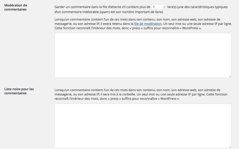 réglages des blacklist de commentaires dans l'administration de wordpress