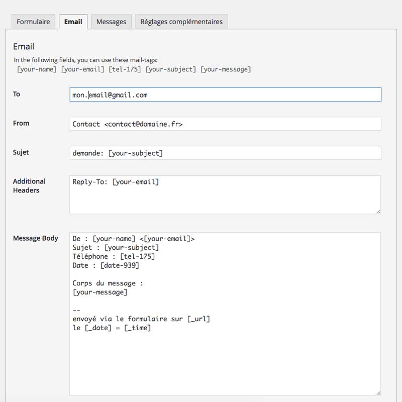 exemple d'utilisation des shortcodes dans CF7